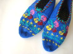knitted slippers womens slippers blue knit by AnatoliaDreams, $27.50