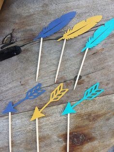 Pow Wow Birthday Arrows & Feathers cupcake by EMTsweeetie on Etsy