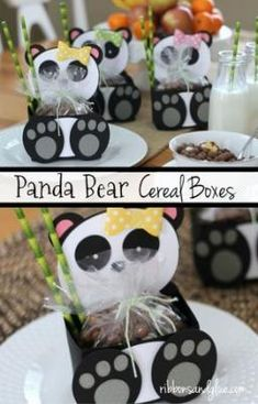 Such a cute idea for a Panda Party filled up with Panda Bear Cereal and Bamboo Paper StrawsPanda Bear Cereal Boxes. Such a cute idea for a Panda Party filled up with Panda Bear Cereal and Bamboo Paper Straws Panda Themed Party, Panda Birthday Party, Panda Party, Bear Party, Bear Birthday, Purple Party Favors, Panda Craft, Panda Bear Crafts, Panda Baby Showers