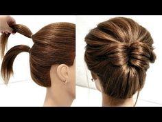 10 САМЫХ БЫСТРЫХ ПУЧКОВ НА КОРОТКИЕ ВОЛОСЫ, КОТОРЫЕ СТОИТ ВАМ ПОВТОРИТЬ. - YouTube Easy Updos For Medium Hair, Bun Hairstyles For Long Hair, Short Hair Updo, Short Wedding Hair, Braided Hairstyles, Glam Hairstyles, Fast Hairstyles, Front Hair Styles, Medium Hair Styles