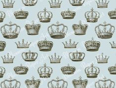 Light Blue Queen King Crowns - Vintage Digital Scrapbooking Paper - Blossom Paper Art - 12x12 inches - Printables