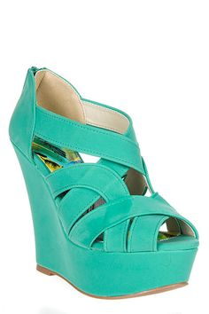 Qupid mint wedge high heels