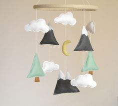 Mountains Baby Mobile, Baby Crib Mobile, Modern Nursery mobile, Felt Mountains and Tree, Mountain nursery decor, Cloud Cot Mobile, Mint Gray by Rainbowsmileshop on Etsy https://www.etsy.com/listing/271445740/mountains-baby-mobile-baby-crib-mobile