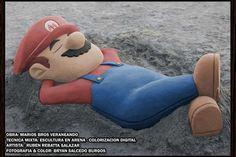 Escultura arena Mario Bros