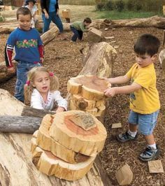 'Giant tree cookies' encourage imaginative play and the creation of elaborate, collaborative projects. Hand-crafted of untreated redcedar. | Via the @Nature Explore Sourcebook