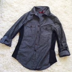 """Charcoal Grey Pinstripe Button Up Blouse! Charcoal Grey Pinstripe Button Up Blouse! Has two front chest pockets with buttons, and you can roll the sleeves up or down (but down would only be 3/4 sleeve, doesn't have full cuff at hand like other shirts). Has a soft cotton """"stripe"""" down each arm and on the side of the shirt. 100% cotton. Perfect condition, no tears or stains! MacDougal & Houston Tops Button Down Shirts"""