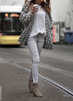Gray polka dots jacket jeans boots white t-shirt. Street autumn fall women fashion outfit clothing style apparel @roressclothes closet ideas