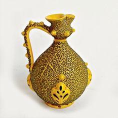 Art Pottery Pitcher in Yellow Glaze with Embossed Amoeba Design Sculpture Art, Sculptures, Ceramic Furniture, Pottery Art, Wall Art Decor, Glaze, Ceramics, Abstract, Yellow
