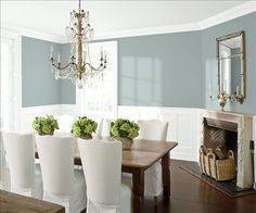 Look at the paint color combination I created with Benjamin Moore. Via @benjamin_moore. Wall: Kentucky Haze AC-16; Trim & Wainscot: Distant Gray 2124-70; Ceiling: Distant Gray 2124-70.
