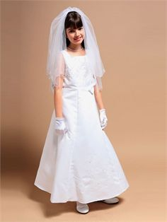 A-line Square Neckline Satin Floor Length Flower Girl Dress FGD1040 www.dresseshouse.co.uk $46.0000