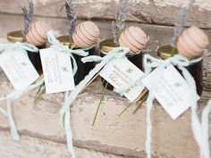 "Honey Jar Wedding Favors Tied with Cake Pop ""Honey Dipper"""