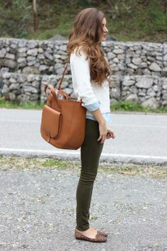 white + chambray / olive skinnies / leopard flats / cognac or tan