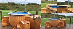Fiberglass lined hot tub with integrated burner thermo wood Wellness Royal, James Booth, Sheffield, UK Hot Tub Garden, Hot Tub Backyard, Hot Tub Surround, Garden Ideas Uk, Firewood, Deck, Wellness, Construction, Sheffield