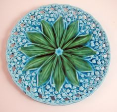 Majolica Plate with Turquoise Lily of the Valley Germany $ 45.00