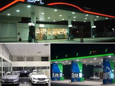 HITECNICO LED Canopy Lights Recessed Mounted applied for gas station lighting, petrol station lighting, filling station lighting, service station lighting, recessed lighting, etc.