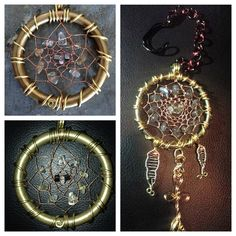 Handmade wire woven dream catchers with select crystals and stones. Made with crystals that resonate with you as well as heal. Citrine, Quartz, Rose Quartz, Hematite, and Labradorite in these. Material: Brass Ring, Brass wire, Copper wire Asking $40+