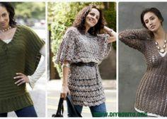 Crochet Women Pullover Sweater Free Patterns-Tops Tunics Tutorials