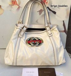 SOLD!l! - Authentic GUCCI Britt Med Off White Tote with paperwork $1600 - Starting $9.99!!