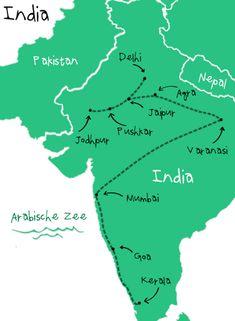 Onze backpack route door India.