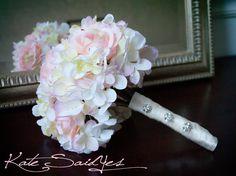 hydrangea wedding bouquets | Wedding Bouquet - Pink Rose and Hydrangea Silk Bridal Wedding Bouquet