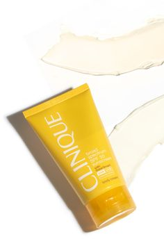 Clinique's SPF 50 sunscreen shields skin from damaging UVA and UVB rays with an antioxidant boost! Don't leave home without it this summer.