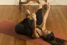 """""""Happy Baby"""" yoga pose--rock side to side--great pose for tight hips"""