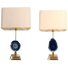 Pair of Blue Agates Table Lamps Attributed to Willy Daro | See more antique and modern Wall Lights and Sconces at http://www.1stdibs.com/furniture/lighting/sconces-wall-lights