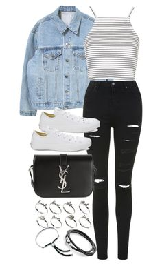 """Untitled #2727"" by plainly-marie ❤ liked on Polyvore featuring Topshop, Yves Saint Laurent, Converse, ASOS and Monica Vinader"