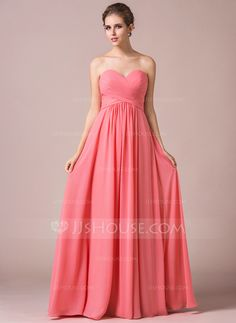 A-Line/Princess Sweetheart Floor-Length Chiffon Bridesmaid Dress With Ruffle (007056569)
