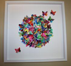 2014 senior kindergarten coffee filter butterflies - student art auction, collaborative prodject
