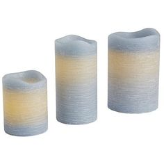 Deco Wick™ Distressed Blue LED Pillar Candles