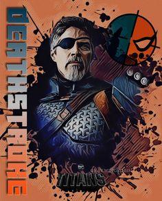 Superhero Poster, Comic Poster, Superhero Movies, Comic Art, Dc Deathstroke, Deathstroke The Terminator, Batman Gotham Knight, Im Batman, Justice League Animated