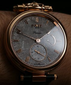 "Bovet Fleurier Amadeo Fleurier 43 Meteorite Watch Review - by Ariel Adams - See the video, photo gallery, and learn more about it on aBlogtoWatch.com ""One of the more interesting and boutique timepieces I got to review over the last year has been this meteorite-dialed version of the Bovet Amadeo Fleurier 43 watch. There is a lot to discuss and some interesting hidden features in what is a pretty cool watch if the style and price match your needs..."""