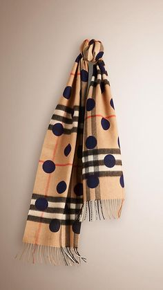Indigo blue The Classic Cashmere Scarf in Check and Dots -  1