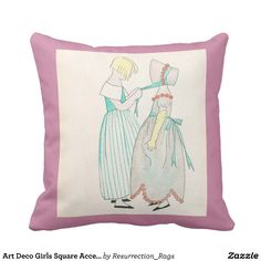 Art Deco Girls Square Accent Pillow