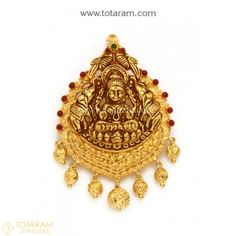 22K Gold 'Lakshmi' Pendant With Beads (Temple Jewellery) - 235-GP3674 - Buy this Latest Indian Gold Jewelry Design in 11.250 Grams for a low price of $679.24
