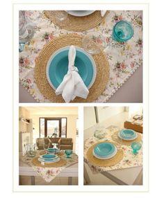 Floral e turquesa na mesa fica alegre e moderno!
