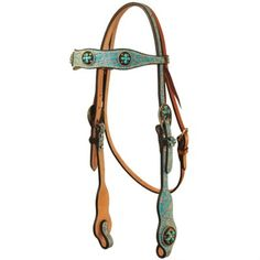 X Series Gator Browband Headstall with Turquoise Cross Conchos - Headstalls - Tack - Saddles & Tack | D&D Farm and Ranch