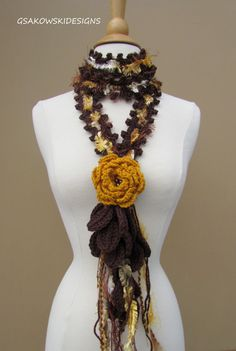 Queen Ann Rose Lariat-Old Gold by gsakowskidesigns on Etsy