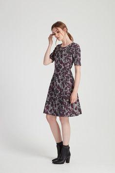 Joanna Flared Dress in Grey multi