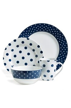 Isaac Mizrahi - Isaac Mizrahi Dot Luxe Navy Blue Dinnerware Set - This bold ceramic dinnerware set features a fun polka-dot pattern consisting of navy blue and white. Dishwasher and microwave safe,the set includes plates,bowls and mugs. Casual Dinnerware, Dinnerware Sets, Modern Dinnerware, White Dinnerware, Porcelain Dinnerware, Gibson Dinnerware, Dish Sets, Fine China, Navy And White