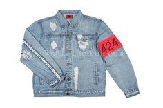 424 distressed EXO ripped streetwear urban denim jacket