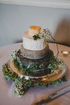 Cheese Stack Tower Cake Boho Beautiful White Country House Wedding http://jonnymp.com/