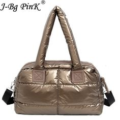 2018 New Winter Women Space Cotton Handbags casual Ladies Bag Down Fashion  Bright Shoulder Bag Female cd77cc7904