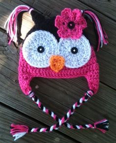 Baby Toddler Girl Hot PINK n BLACK Crochet OWL Earflap Hat - You Pick Size: Newborn to 8yrs - Winter Hat Gift. $21.00, via Etsy.