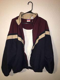8b3545c9b Vintage Champion Jacket XL Windbreaker Maroon Off White And Navy #fashion # clothing #shoes