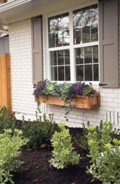 Wooden Planters Fixer Upper Chip and Joanna take a drab & ranch house in ., Wooden Planters Fixer Upper Chip and Joanna take a drab & ranch house in the suburbs and turn it into a colorful and comfortable home with a ru. Window Planters, Wooden Planters, Wooden Garden, Landscaping Plants, Front Yard Landscaping, Landscaping Ideas, Fixer Upper, Window Box Flowers, Window Boxes