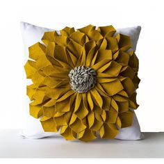 Amore Beaute 14-Inch Felt Flower Pillow Cover Mustard Gray White ($87) ❤ liked on Polyvore featuring home, home decor, mustard yellow home decor, grey home decor, white home decor, gray home decor and white home accessories