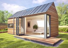 These popup modular pods can add a garden studio or offgrid escape just about anywhere is part of Mini garden Office - British company Pod Space's prefab pop up pods add sustainable garden offices and studio escapes just about anywhere Modern Tiny House, Tiny House Design, Modern Loft, Modern Cabins, Modern Barn, Modern Farmhouse, Casas Containers, Backyard Studio, Cozy Backyard