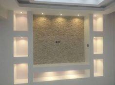 """Résultat de recherche d'images pour """"salon ni? Living Room Tv, Living Room With Fireplace, Fireplace Wall, Fireplace Design, Tv Wall Design, House Design, Modern Tv Wall, Tv Wall Decor, Home Ceiling"""